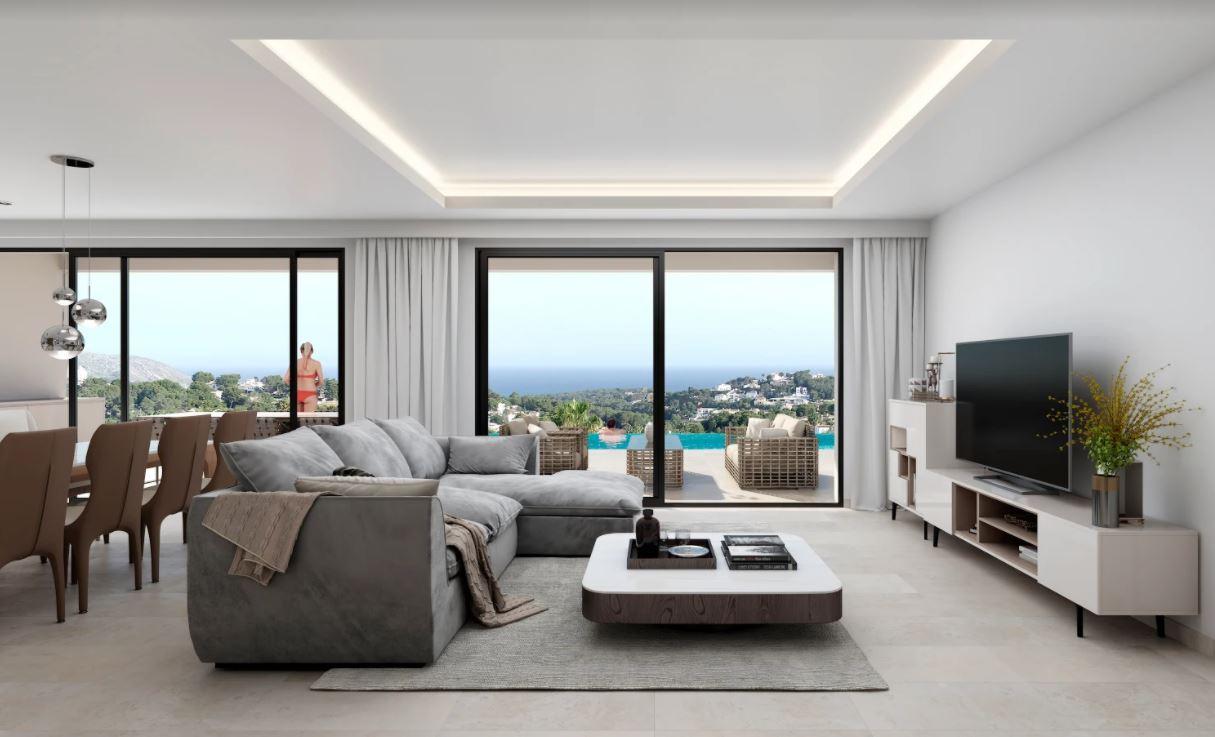 Villa de lujo en construcción a la venta en Moraira con vistas al mar.